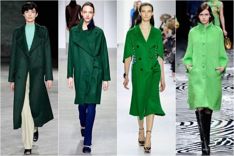 зеленые пальто осень-зима 2014-2015