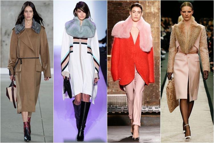 пальто с меховым воротником осень-зима 2014-2015