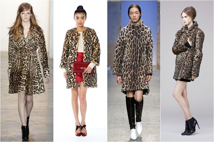 леопардовые пальто осень-зима 2014-2015