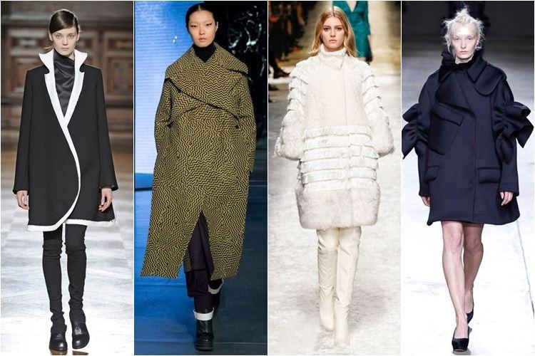 пальто оригинального кроя  осень-зима 2014-2015