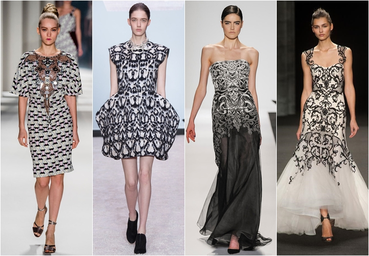 платья в стиле барокко осень-зима 2014-2015 черно-белые