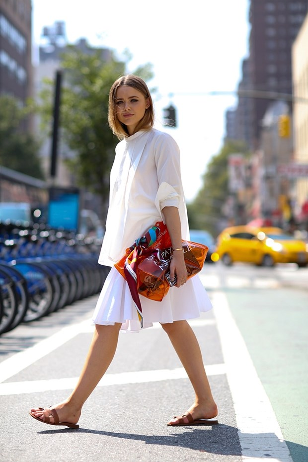 белая блузка, уличная мода Нью-Йорка 2014-2015