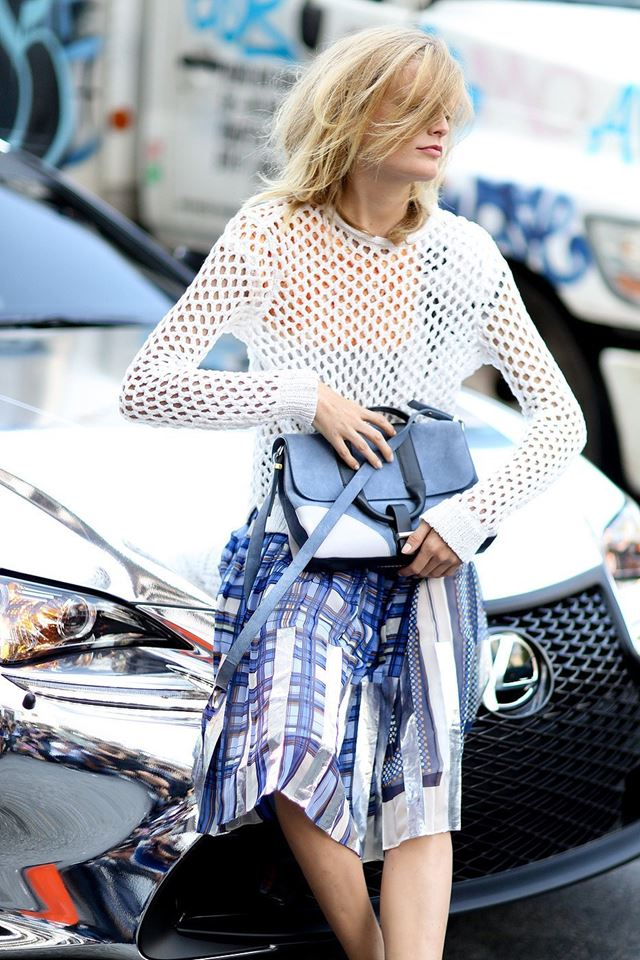 ажурный свитер, уличная мода Нью-Йорка 2014-2015