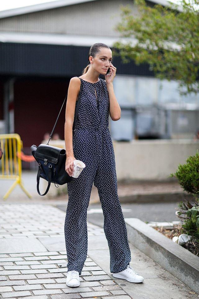 комбинезон с мелким принтом, уличная мода Нью-Йорка 2014-2015