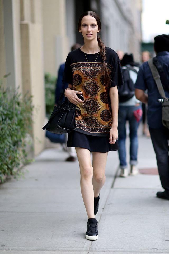 топ с этническим принтом, уличная мода Нью-Йорка 2014-2015