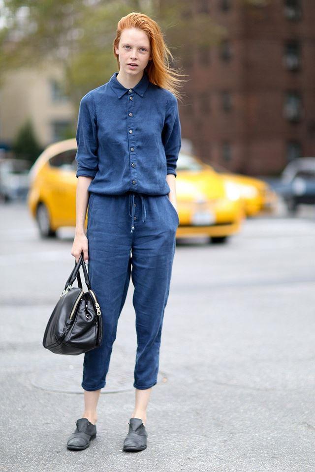синий комбинезон, уличная мода Нью-Йорка 2014-2015