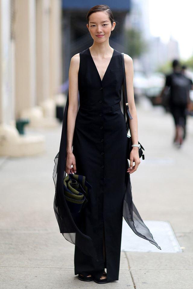 черный сарафан на пуговицах, уличная мода Нью-Йорка 2014-2015