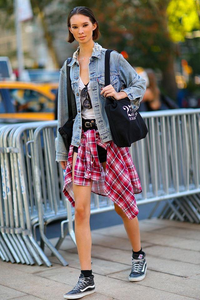 джинсовая куртка и клетка, уличная мода Нью-Йорка 2014-2015