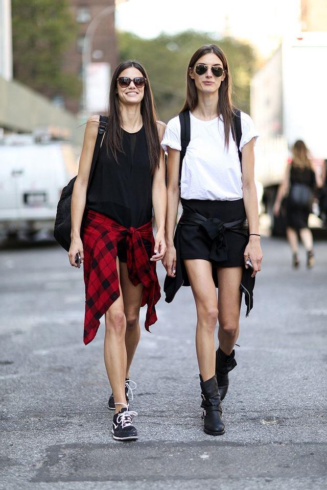 стиль casual с топом и шортами, уличная мода Нью-Йорка 2014-2015