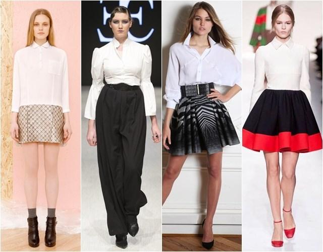 Белые классические блузки в деловом стиле осень-зима 2014-2015