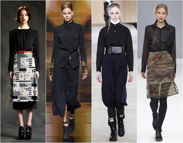 Черные блузки и рубашки осень-зима 2014-2015