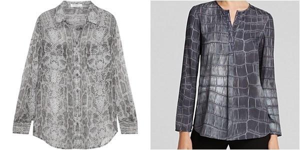 Блузки и рубашки с крокодиловым принтом осень-зима 2014-2015