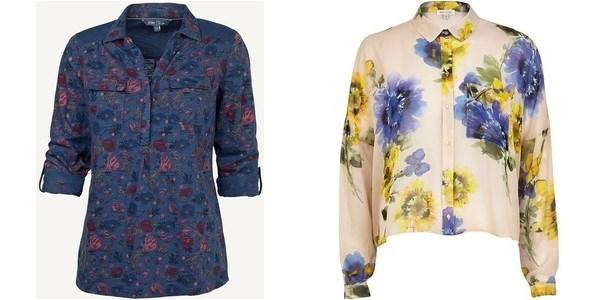 Блузки с цветочным принтом осень-зима 2014-2015
