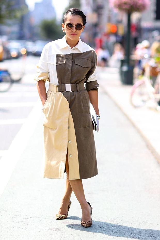 плащ милитари , уличная мода Нью-Йорка 2014-2015