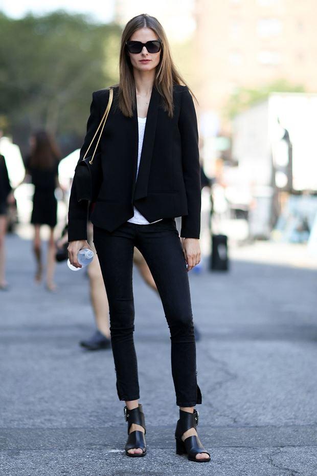 черный смокинг, уличная мода Нью-Йорка 2014-2015