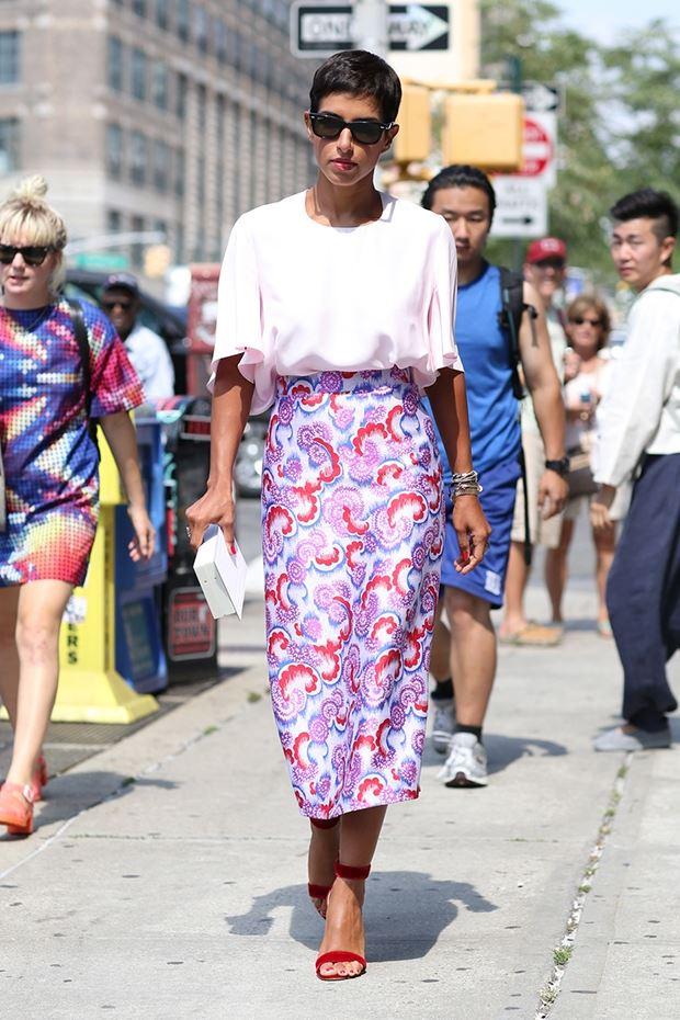 цветочная юбка карандаш, уличная мода Нью-Йорка 2014-2015