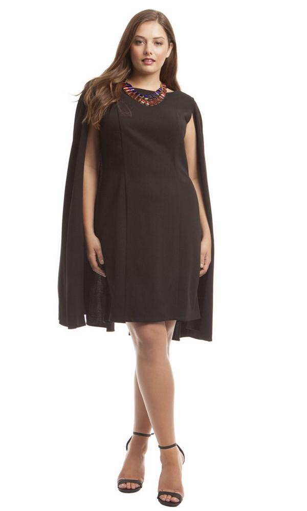мода для полных зима 2015, платье-кейп
