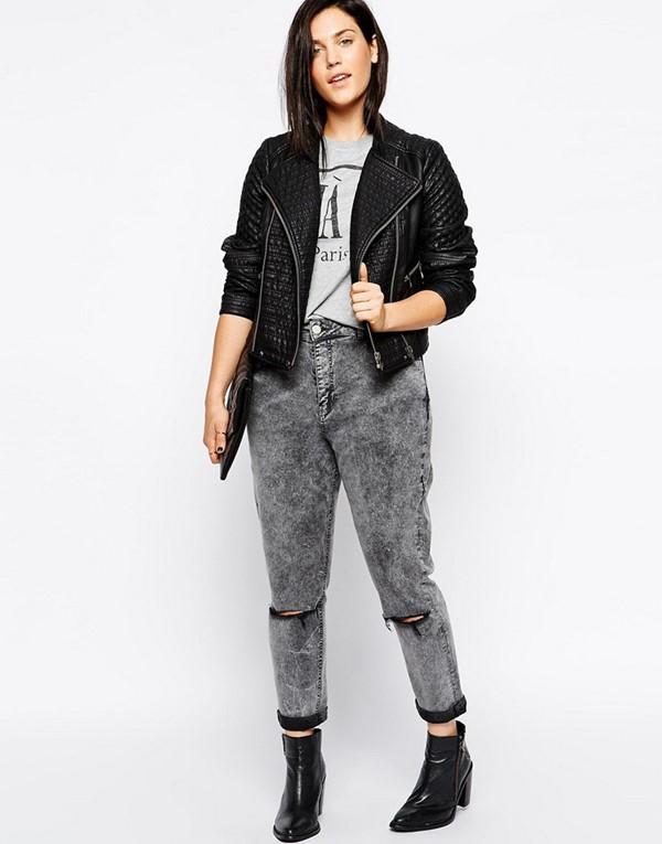 мода для полных зима 2015, джинсы-варенки и куртка-косуха