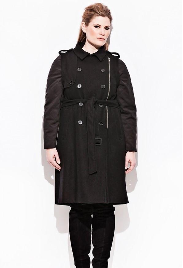 мода для полных зима 2015, черный тренч милитари