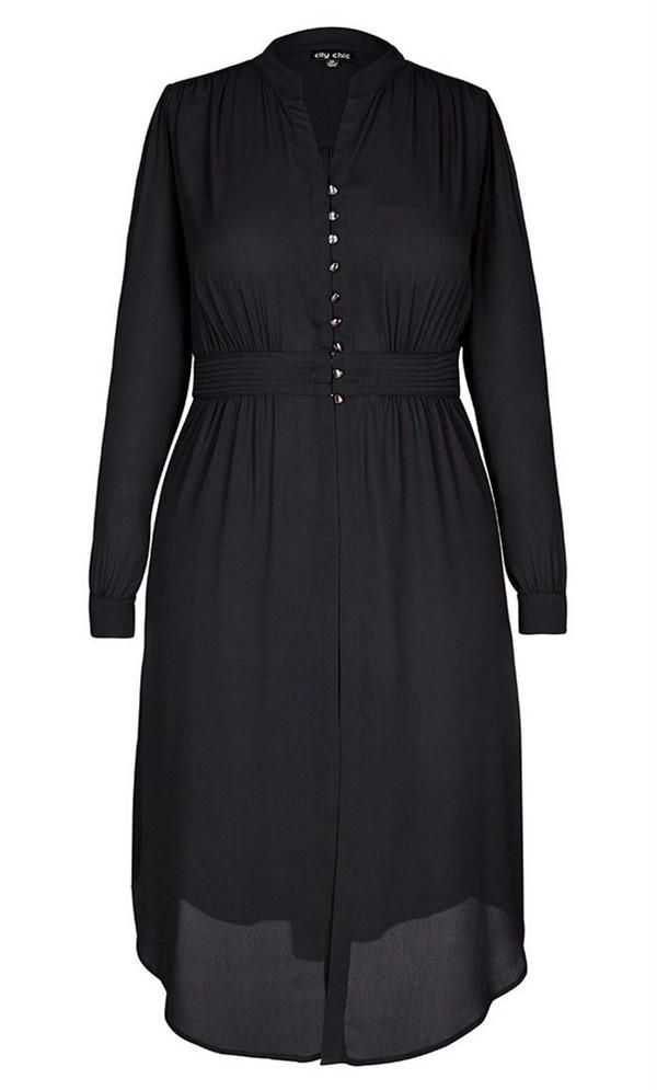 мода для полных зима 2015, черное платье ретро