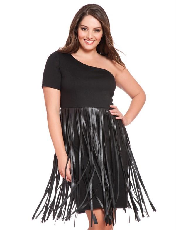 мода для полных зима 2015, коктейльное платье