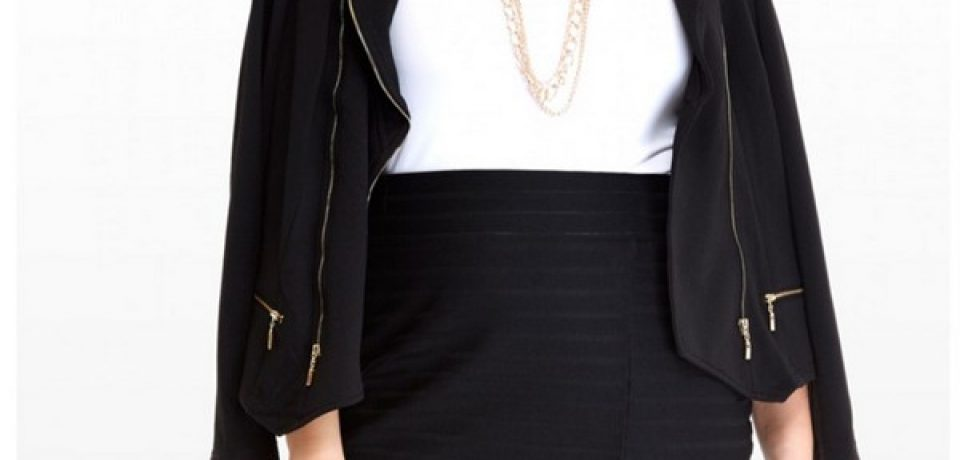Мода для полных в черном цвете зима-2015