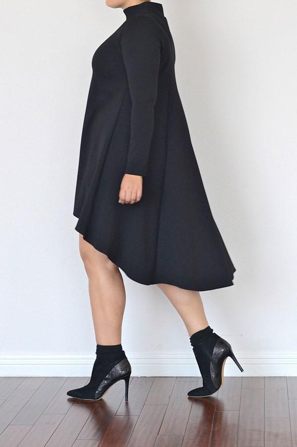 мода для полных зима 2015, платье хай-лоу