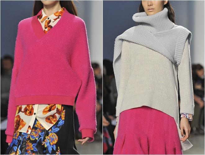женские трикотажные свитера осень-зима 2014-2015 (розовый и серый с горлом)