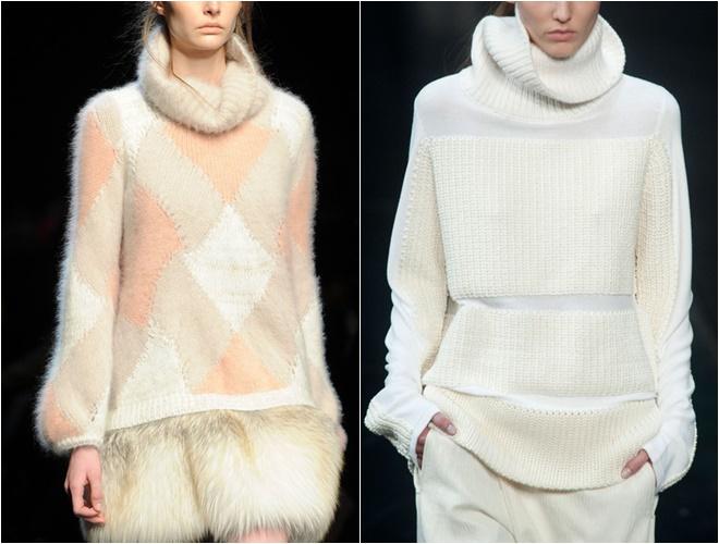 женские трикотажные свитера осень-зима 2014-2015 (оттенки белого, воротник хомут)