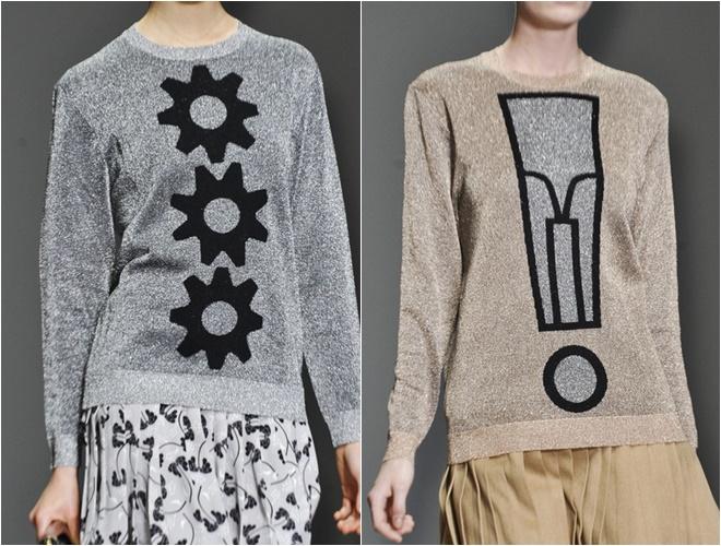 женские трикотажные свитера осень-зима 2014-2015 (блестящие серый и бежевый)