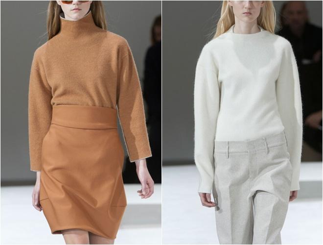 женские трикотажные свитера осень-зима 2014-2015 (белый и коричневый гладкая вязка)