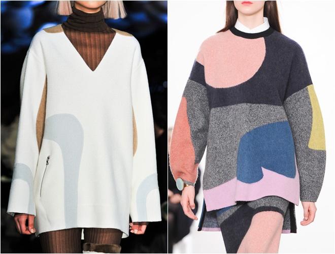 женские трикотажные свитера осень-зима 2014-2015 (принты разводы, гладкая вязка)