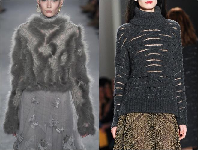 женские трикотажные свитера осень-зима 2014-2015 (серые с мехом и ажурный)
