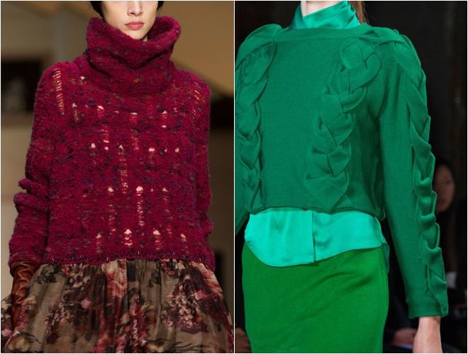 женские трикотажные свитера осень-зима 2014-2015 (бордовый и изумрудный, фактурная вязка)