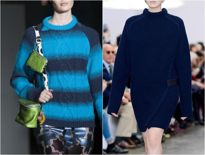 женские трикотажные свитера осень-зима 2014-2015 (синие)