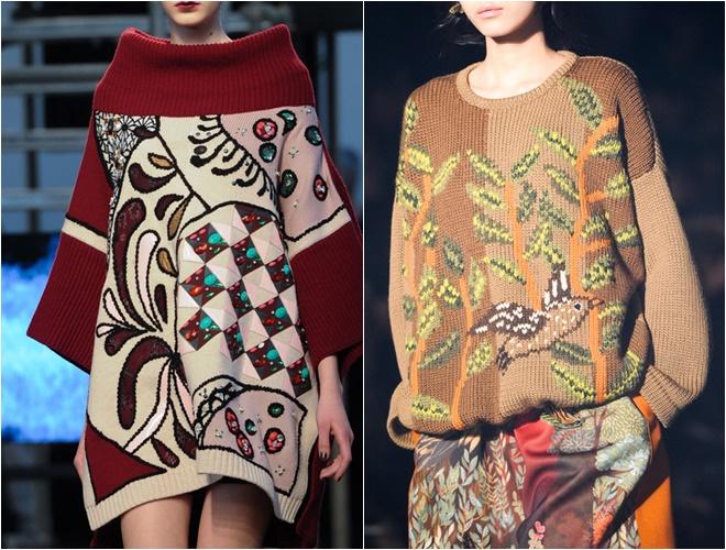 женские трикотажные свитера осень-зима 2014-2015 (вышивка принт)
