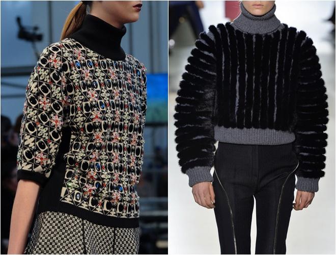 женские трикотажные свитера осень-зима 2014-2015 (вышивка и фактура)