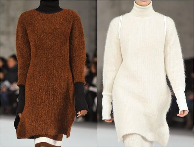 женские трикотажные свитера осень-зима 2014-2015 (молочный и терракотовый длинные)