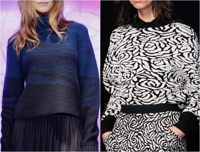 женские трикотажные свитера осень-зима 2014-2015 (принт и гладкая вязка)