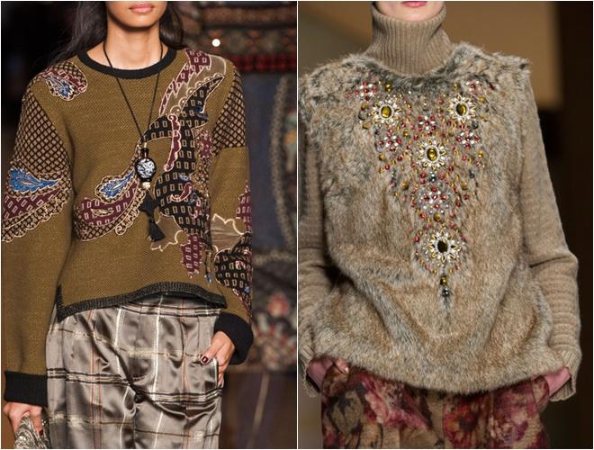 женские трикотажные свитера осень-зима 2014-2015 (инкрустация кристаллами)