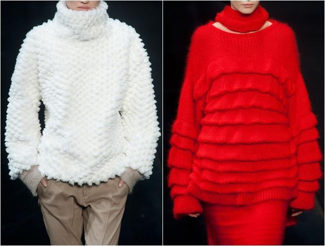 женские трикотажные свитера осень-зима 2014-2015 (белый и красный, тяжелая вязка)