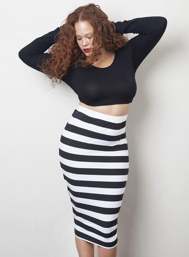 RebDolls полосатая юбка и кроп топ для полных 2014-2014