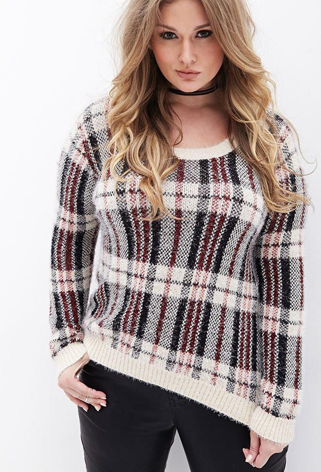 свитер в клетку для полных 2014-2015