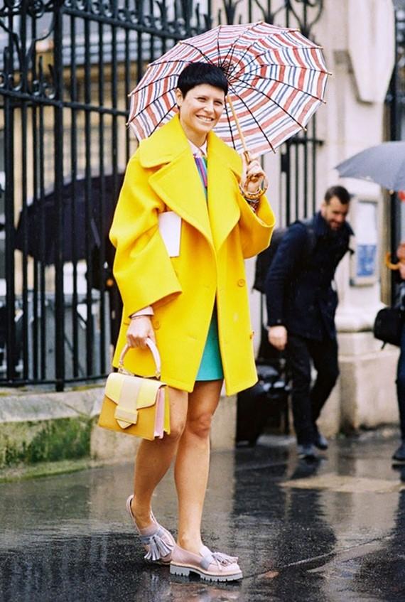 яркое желтое пальто бушлат на пуговицах