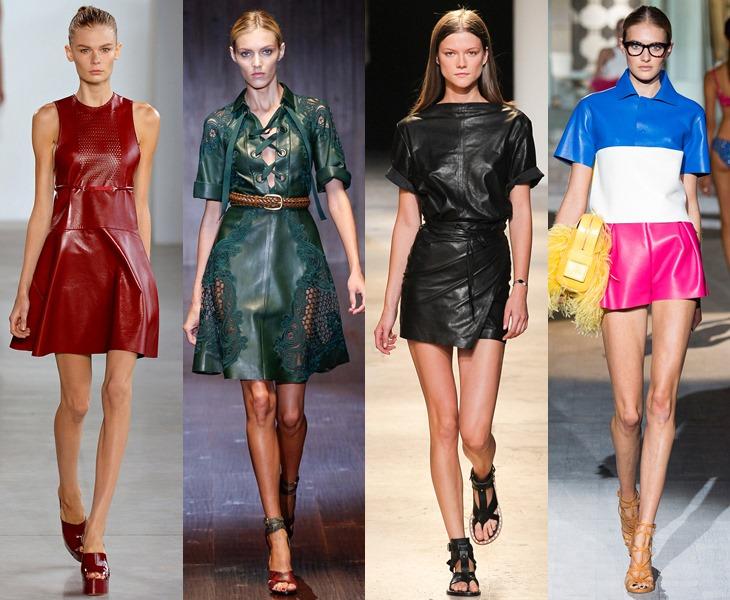Кожаные платья и юбки
