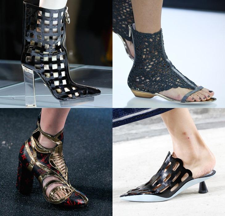 Кружевная, перфорированная и открытая обувь весна-лето 2015