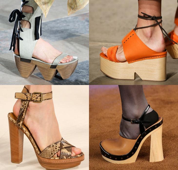Обувь на деревянной подошве весна-лето 2015