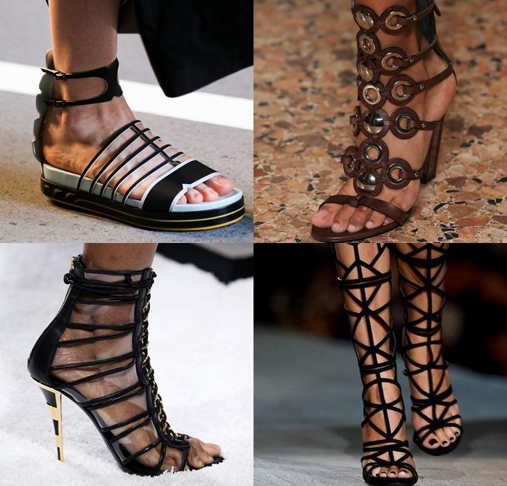 Обувь с тонкими ремешками и шнуровкой весна-лето 2015