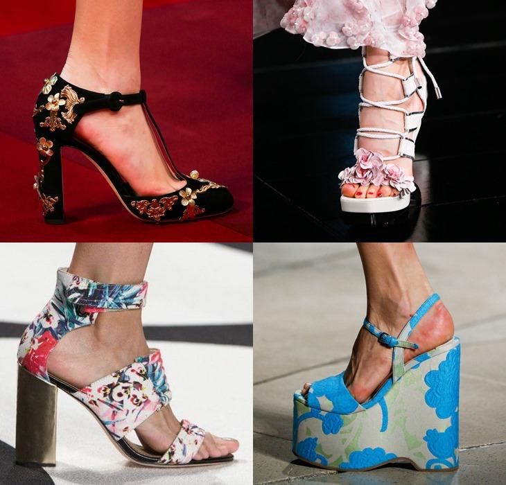 Обувь с цветочными принтами и аппликациями весна-лето 2015