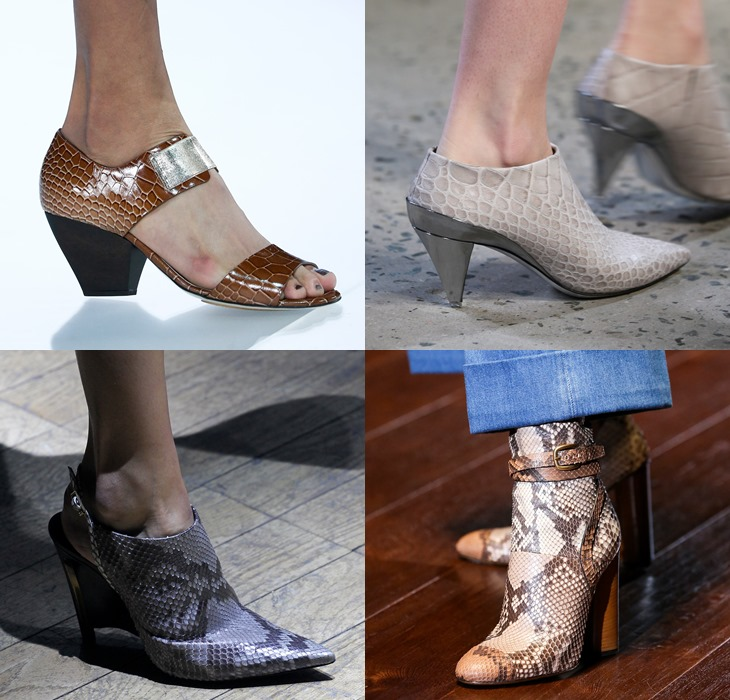 Обувь со змеиным и крокодиловым принтом весна-лето 2015